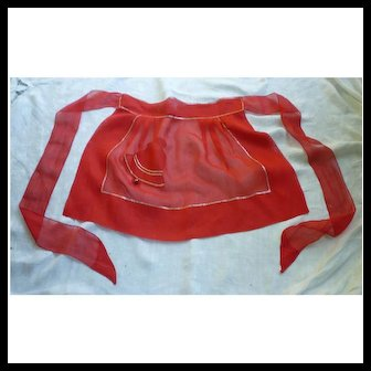 Bell with Jingle Bell Clapper Solid and Sheer Red Vintage Christmas Apron