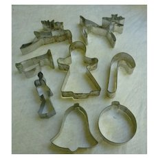Vintage Tin Christmas Cookie Cutters Set