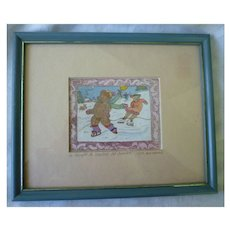 Cute Ice Skating Bears Colorful Print Signed