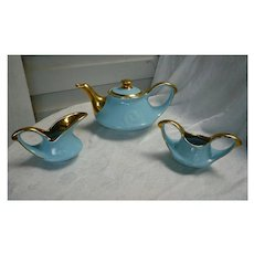 Pearl China Co. 1940s Teapot Sugar and Creamer  Aqua with 22K Gold Trim