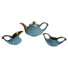 Pearl China Co. 1940s Teapot Sugar and Creamer  Aqua with 22K Gold Trim