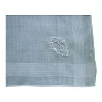 Fine White Linen Monogram J Handkerchief