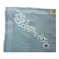 White Flowers with Golden Centers Embroidered Swiss Label Handkerchief