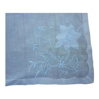 Blue Flowers on White Embroidered Hong Kong Label Handkerchief