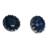 Large Deep Blue Faceted Lucite Clip Earrings