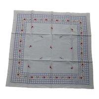 Lovely Linen Cross Stitch Embroidered Flower Garden Tablecloth