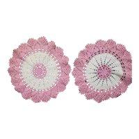 Pretty Pink Peaches and Cream Crochet Doily Set