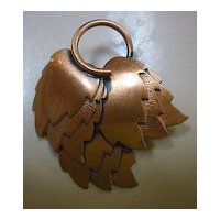 Clusters of Leaves Heavy Copper Brooch Pin Renoir