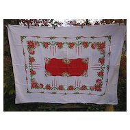 Candlesticks Holly Poinsettias Ribbon 50's Print Xmas Linen Tablecloth