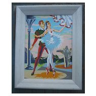 Pas De Deux Ballet Paint by Number PBN Framed Signed