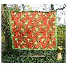 Mistletoe Holly Green Fringe Trim Tablecloth Vintage 60s