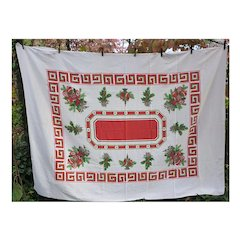 All The Trimmings Holiday Decorations Vintage 50's Print Christmas Tablecloth