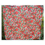 Ornaments on Tree Branches Poinsettias 60's  Print Xmas Tablecloth