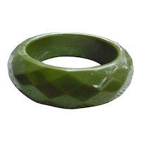 Diamond Faceted Sage Green Very Chunky Vintage Plastic Bangle Bracelet