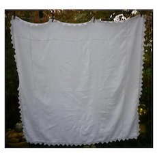 Crochet Edged Fine White Linen Tablecloth with Openwork Details