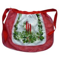 Holly and Candles Print and Sheer Red Vintage Christmas Apron