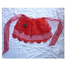 Double Ruffles Sheer Red Felt Xmas Tree Vintage Christmas Apron
