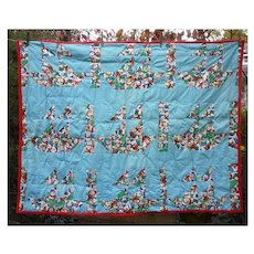 Charming Christmas Three Ships and Snowmen Child's Pieced Quilt