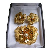 Sarah Coventry 3 Piece Set Flowers Earrings and Brooch Goldtone Green Rhinestones Faux Pearls