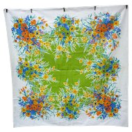 Red Yellow Blue Orange Flowers Green Center Vintage Print Tablecloth