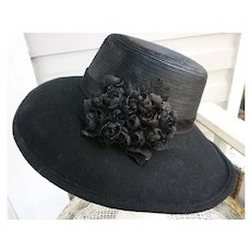 Vintage Whittall & Shon Designer Black Felt Hat With Black Roses and Sequins
