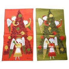 Vintage Christmas Angels with Tree Tammis Keefe Tea Towels Reversible Set