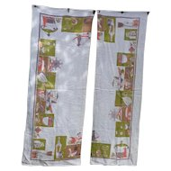 Kitchen Print Curtains Made from Vintage Tablecloth