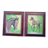 Mare and Colt Vintage Paint-by-Numbers Paintings Set of 2 Framed