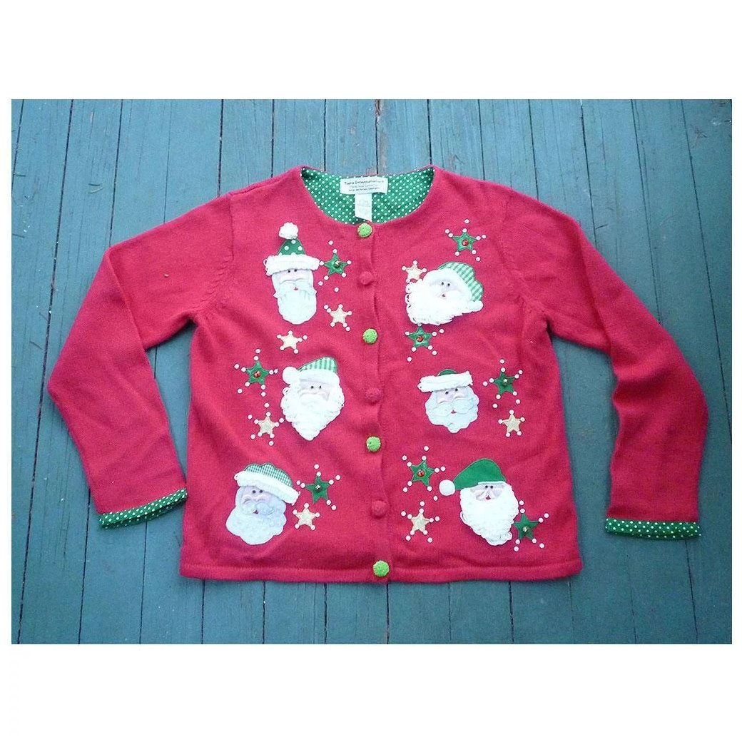 Christmas Sweaters Cute.Tiara International Vintage Women S Ugly Christmas Sweater Cute Santas L