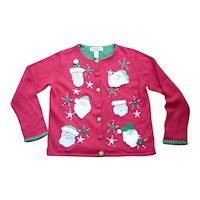 Tiara International Vintage Women's Ugly Christmas Sweater Cute Santas L