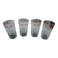 Red Black White Penn Dutch Farm Scenes Tumblers Set of Four