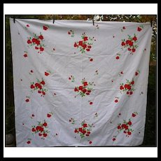 Red Roses Willendur Vintage Tablecloth