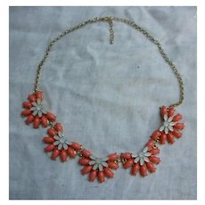 Intricate Orange and Pearly Petals Floral Motif Necklace