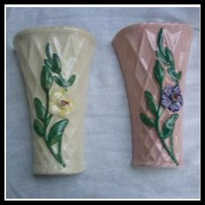 Pretty Pair of Wall Pockets with Basket Weave and Flowers