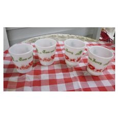Vintage 1950 Hazel Atlas Tom and Jerry Christmas Red Green White Milk Glass Mugs Set of Four