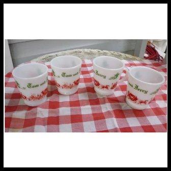 Vintage 1950 Hazel Atlas Tom and Jerry Christmas Red Green White Milk Glass Mugs Set of Four