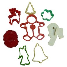 Vintage Colorful Plastic Christmas Cookie Cutters Collection
