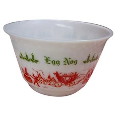 Vintage  Hazel Atlas Egg Nog Christmas Red Green White Milk Glass Bowl