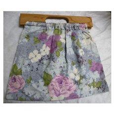 Vintage Barkcloth Sewing Knitting Tote Bag Wooden Handles