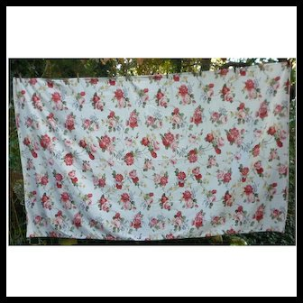 Red and Pink Roses Yellow Blue Flowers Large Vintage Print Tablecloth