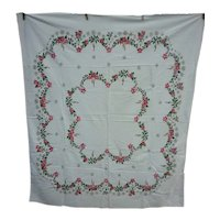 Poinsettias Holly Candles and Snowflakes Garlands Vintage 50's Print Christmas Tablecloth