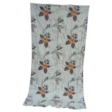 Bold Orange Black and Brown Flowers Vintage Barkcloth Large Piece