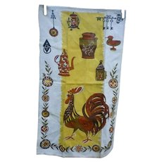 Rooster Coffee Grinder and Pot and Utensils Vintage Linen Dish Towel
