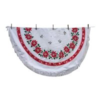 Poinsettias Holly Snowflakes 60's Print Round Xmas Tablecloth