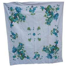 Blue and Green Fruit Spices and Nuts Vintage Print Tablecloth