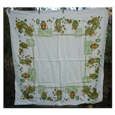 Pride of the Farm Print Vintage Linen Tablecloth