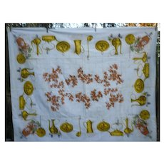 Glowing Pots and Pans Fall Foliage Print Vintage Tablecloth
