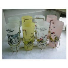 Set of 8 Libbey Glass Plantation Scenes Frosted Glasses with Caddy