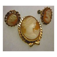 Shell Cameo Brooch and Earrings Set 14K Gold Filled