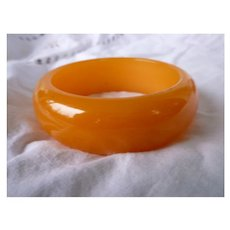 Plump Orange Glow Chunky Bakelite Bangle Bracelet